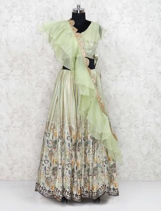 Classic pista green cotton silk lehenga choli