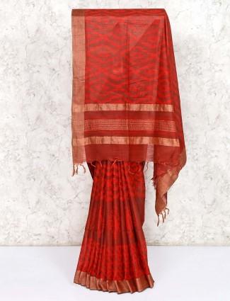 Classic red saree in cotton