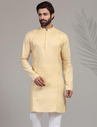 Classic yellow solid cotton silk kurta