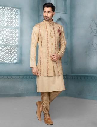 Classy beige raw silk waistcoat set