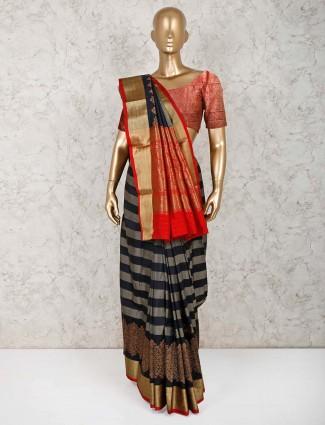 Classy black pure silk saree