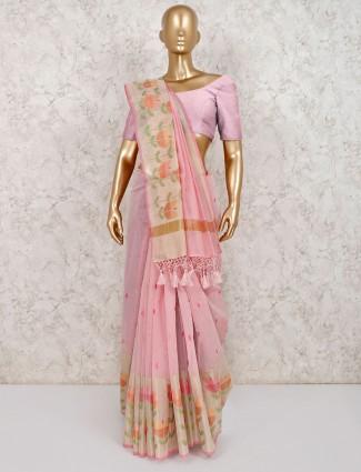 Classy pink cotton saree