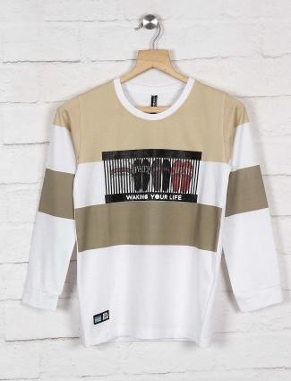Cookyss beige stripe pattern sweatshirt