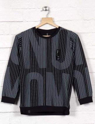 Cookyss black stripe slim fit sweatshirt