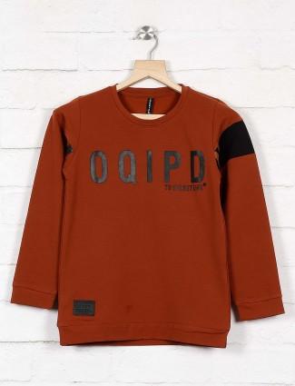 Cookyss brown color printed sweatshirt