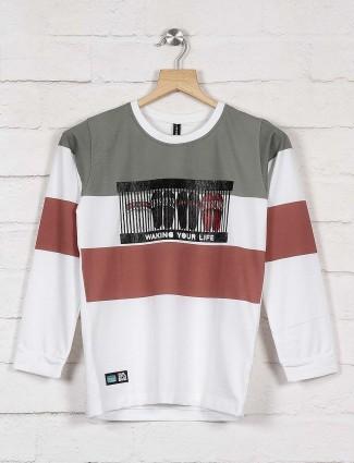 Cookyss olive hue stripe cotton sweatshirt