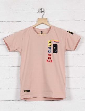 Cookyss pink half sleeves printed t-shirt