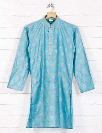 Cotton blue hue cotton festive wear kurta suit