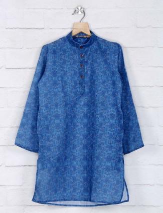 Cotton blue kurta suit for festive