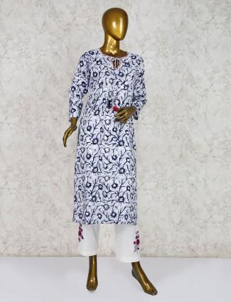 Cotton blue printed punjabi salwar suit