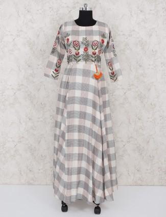 Cotton cream color checks festive salwar suit