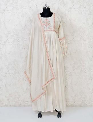 Cotton cream festive wear anarkali suit
