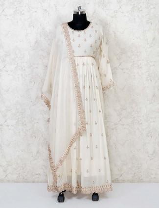 Cotton cream floor length anarkali suit