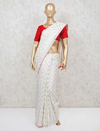 Cotton cream leheriya festive saree