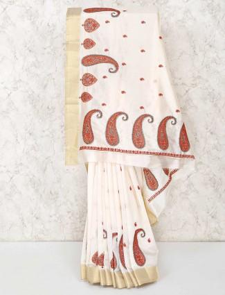 Cotton cream pretty saree