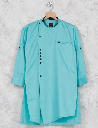 Cotton fabric aqua hue kurta suit
