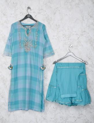 Cotton fabric aqua hue sharara style kusti set