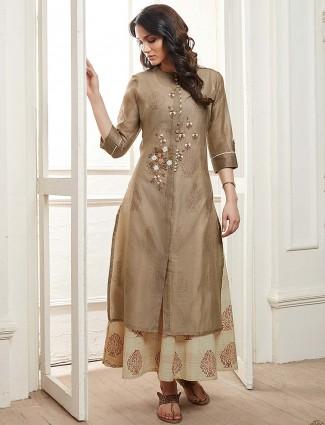 Cotton fabric beige hue festive kurti