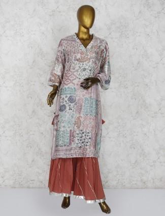 Cotton fabric cream printed punjabi sharara suit