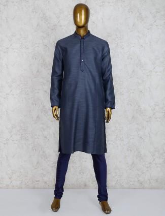 Cotton fabric dark grey stand collar kurta suit