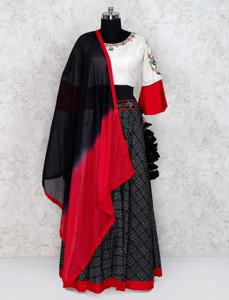 Cotton fabric festive wear black color lehenga choli