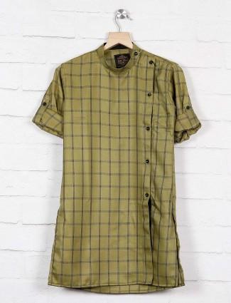 Cotton fabric green checks kurta