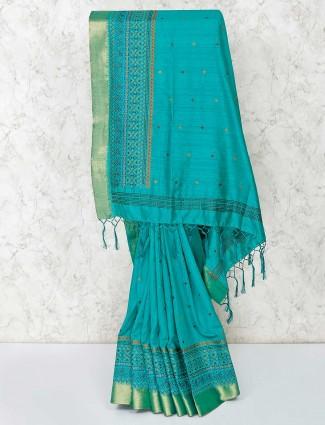 Cotton fabric green saree