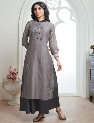 Cotton fabric kurti in grey hue