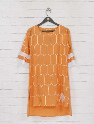 Cotton fabric mustard yellow casual top