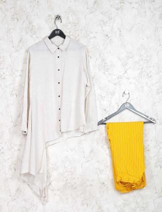 Cotton fabric off white asymmetric kurti set