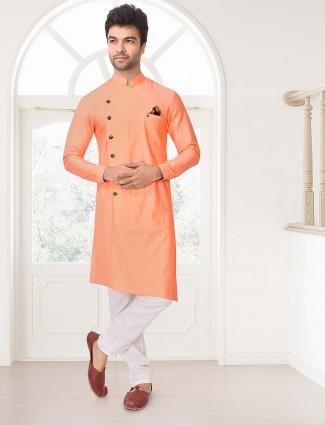 Cotton fabric peach solid kurta suit