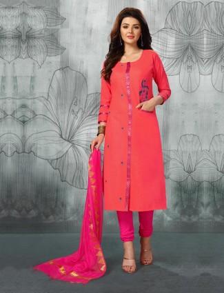 Cotton fabric peach color punjabi churidar suit