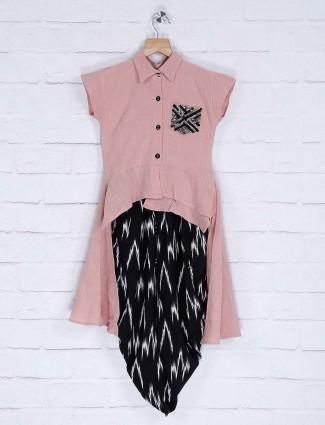 Cotton fabric pink hue designer dhoti suit