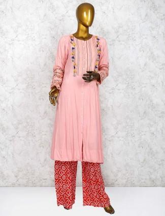 Cotton fabric pink hue punjabi palazzo suit
