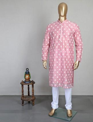 Cotton fabric pink mens kurta suit