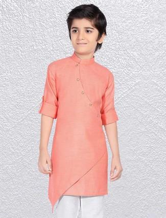 Cotton fabric pink short kurta