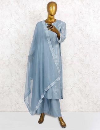 Cotton fabric pretty punjabi palazzo suit in grey hue