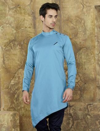 Cotton fabric sky blue short kurta
