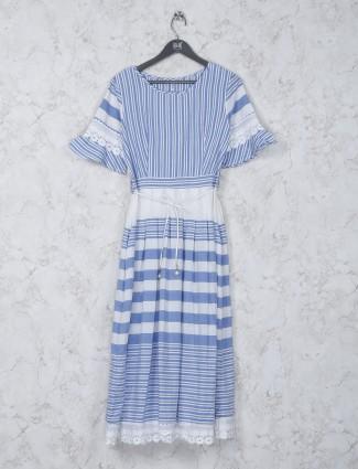 Cotton fabric stripe blue color kurti