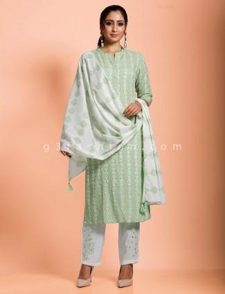 Cotton green exclusive punjabi pant set