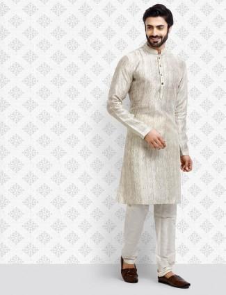 Cotton grey textured mens kurta suit