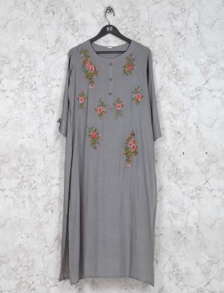 Cotton kurti set in grey color