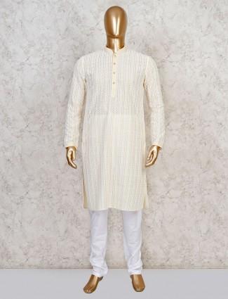 Cotton lakhnavi work yellow kurta suit