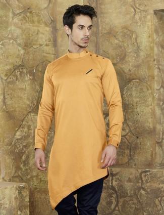 Cotton light yellow short kurta