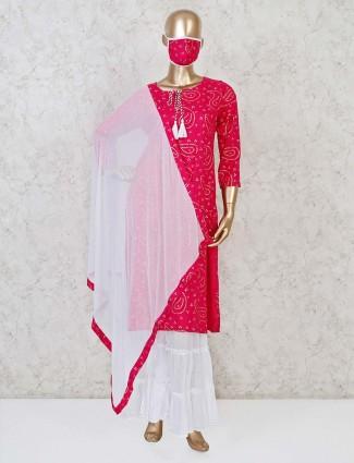 Cotton magenta bandhani printed sharara suit