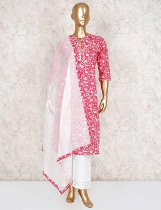 Cotton magenta printed punjabi palazzo suit