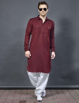 棉色栗色Pathani西装