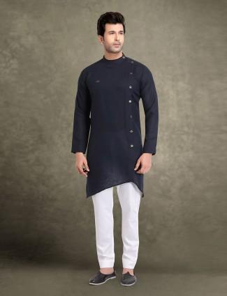 Cotton navy stunning mens solid kurta suit