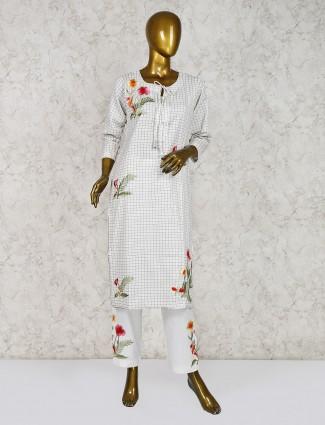 Cotton off white punjabi salwar suit