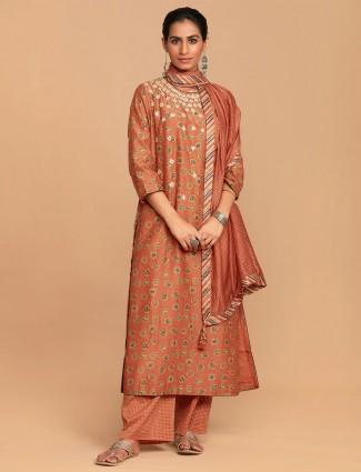 Cotton orange festive wear palazzo suit